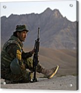 A Soldier With The Afghan National Army Acrylic Print