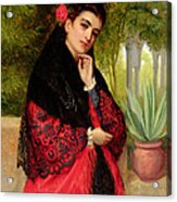 A Spanish Beauty Acrylic Print by John-Bagnold Burgess
