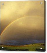 A Spectacular Double Rainbow And Storm Acrylic Print