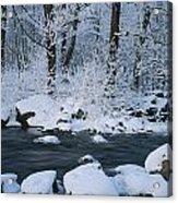 A Stream Running Through Snowy Woodland Acrylic Print