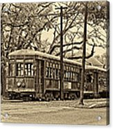 A Streetcar Named St. Charles Sepia Acrylic Print