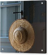 A Sun Hat Hangs On The Door Of A Tuscan Acrylic Print
