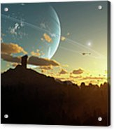 A Sunset On A Forested Moon Which Acrylic Print