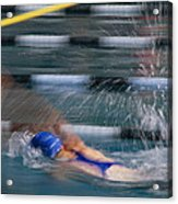 A Swimmer Races Through The Water Acrylic Print