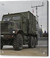 A Tactical Vehicle Is Off-loaded Acrylic Print