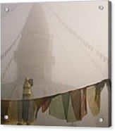 A Temple And Prayer Flags Shrouded Acrylic Print
