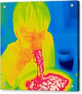 A Thermogram Of A Boy Eating Hot Acrylic Print by Ted Kinsman