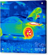 A Thermogram Of A Man Working On A Car Acrylic Print
