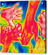A Thermogram Of A Pile Of Human Hands Acrylic Print
