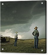 A Thunderstorm Halts Haying As Two Acrylic Print