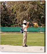 A Tourist Using A High Powered Camera Inside The Red Court In New Delhi Acrylic Print