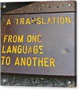 A Translation Acrylic Print