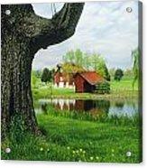 A Tree Frames A View Of A Farm Acrylic Print by Annie Griffiths