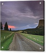 A Twilight View Down A Dirt Road Acrylic Print