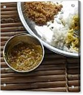 A Typical Plate Of Indian Rajasthani Food On A Bamboo Table Acrylic Print