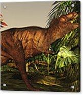 A Tyrannosaurus Rex Runs Acrylic Print by Corey Ford