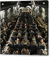A Unit Of U.s. Army Soldiers In A C-17 Acrylic Print