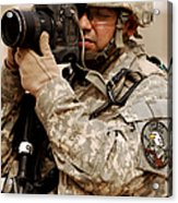A U.s. Air Force Combat Cameraman Acrylic Print by Stocktrek Images