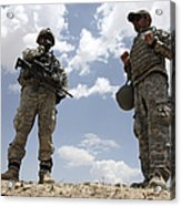 A U.s. Army Soldier Communicates Acrylic Print by Stocktrek Images