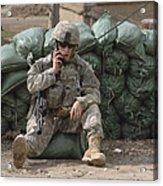 A U.s. Army Soldier Talks On A Radio Acrylic Print