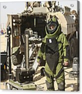 A U.s. Marine Dressed In A Bomb Suit Acrylic Print
