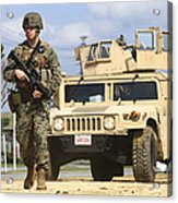 A U.s. Marine Guides A Humvee Acrylic Print