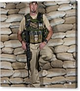 A U.s. Police Officer Contractor Leans Acrylic Print by Terry Moore