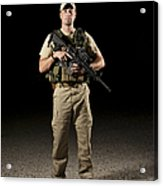 A U.s. Police Officer Contractor Acrylic Print by Terry Moore