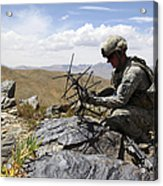 A U.s. Soldier Sets Up A Portable Acrylic Print