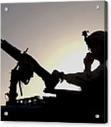 A U.s. Soldier Talks On A Hand Mike Acrylic Print by Stocktrek Images