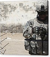 A U.s. Soldier Tests A Tactical Acrylic Print