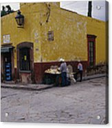 A Vendor Selling Food On A Street Acrylic Print by Gina Martin