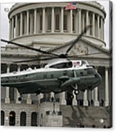 A Vh-60 Helicopter Lands In Front Acrylic Print