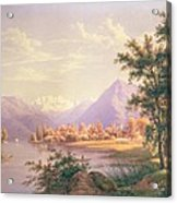 A View Of Scherzingen On The Lake Of Thun Acrylic Print by Jakob Suter