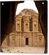 A View Of The Monastary In Petra Acrylic Print