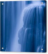 A Waterfall Splashes Off Of A Large Acrylic Print