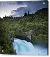 A Waterfall Surrounded By A Forested Acrylic Print