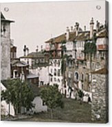 A White Bell Tower Stands Bright Acrylic Print by Maynard Owen Williams
