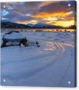 A Winter Sunset Over Tjeldsundet Acrylic Print by Arild Heitmann