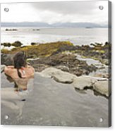 A Woman Enjoys A Hot Spring Acrylic Print