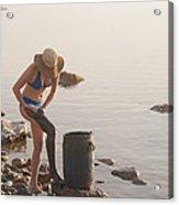 A Woman Smears Therapeutic Dead Sea Mud Acrylic Print