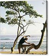 A Woman Stretches On A Beach Acrylic Print by Skip Brown