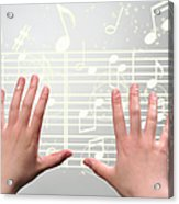 A Woman's Hands  Operating On Digital Music Acrylic Print