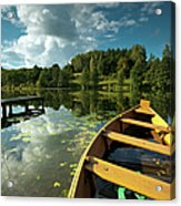 A Wooden Boat On A Lake In Suwalki Lake District Acrylic Print by Slawek Staszczuk