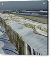 A Wooden Fence Casts A Shadow Acrylic Print