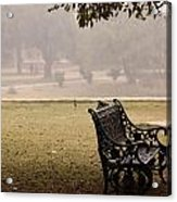A Wrought Iron Black Metal Bench Under A Tree In The Qutub Minar Compound Acrylic Print