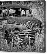 Abandoned Vintage Car Along The Roadside Acrylic Print