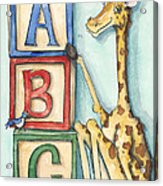 Abc Blocks - Giraffe Acrylic Print by Annie Laurie