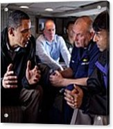 Aboard Marine One President Obama Meets Acrylic Print by Everett