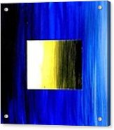 Abstract 3d Golden Blue  Square Acrylic Print